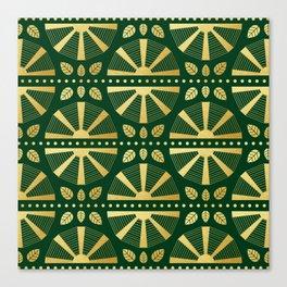 Emerald & Gold Art Deco Fan Canvas Print