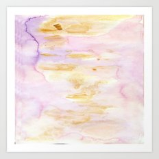 Modern Pink and Gold Watercolor Brush Strokes Art Print
