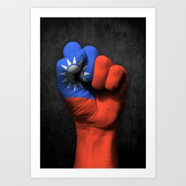 Taiwanese Flag on a Raised Clenched Fist Art Print