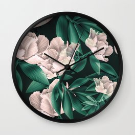 Blooming pink large flowers Wall Clock