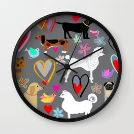 Poodles Labradors dachshunds samoyeds and more!  Wall Clock