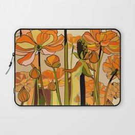 70s, Orange California poppies, mid century, 70s retro, flowers Laptop Sleeve