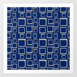Silver Squares On Blue Art Print