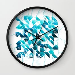 Abstract blue triangle pattern Wall Clock