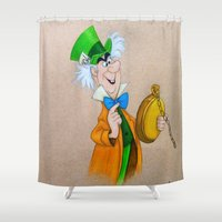 mad hatter Shower Curtains featuring Mad Hatter by Sierra Christy Art