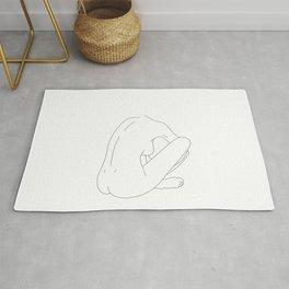 Nude figure line drawing illustration - Ellena Rug