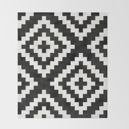 Urban Tribal Pattern No.17 - Aztec - Black and White Concrete Throw Blanket