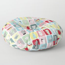 Retro Coffee Pots and Cups Pattern Floor Pillow