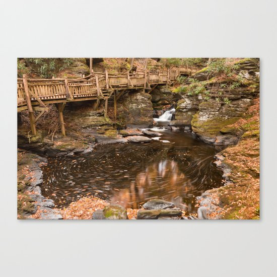 Swirling Bushkill Fall Stream Canvas Print