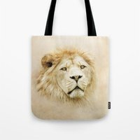 lion Tote Bags featuring Lion by Peaky40