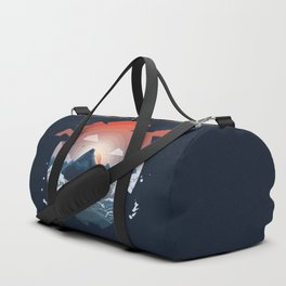 Sunset over the mountain Duffle Bag
