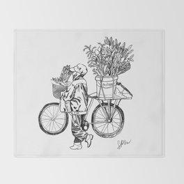 Bicycle Flower Seller in Hanoi in Pencil Throw Blanket