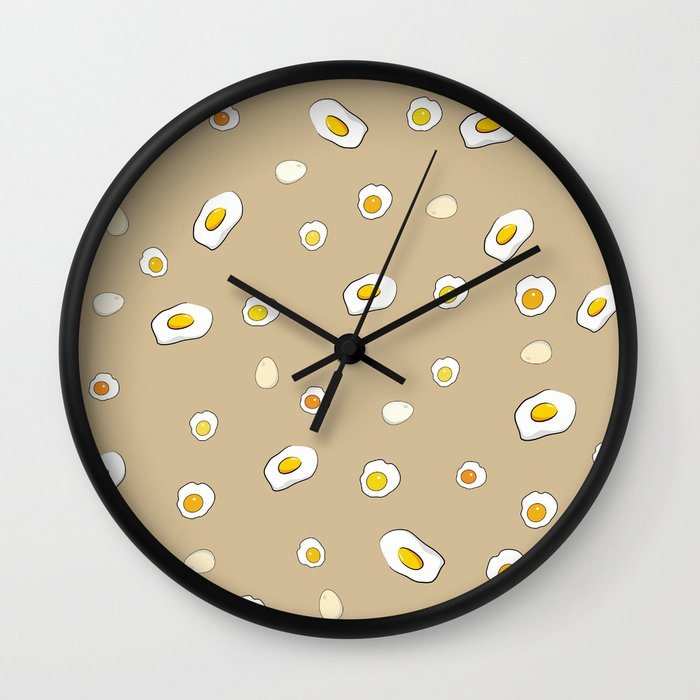 Egg Pattern Sand Art Print Cartoon Yolks Modern Style Wall Clock By Lubo Society6