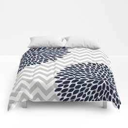 Chevron Floral Modern Navy and Grey Comforters