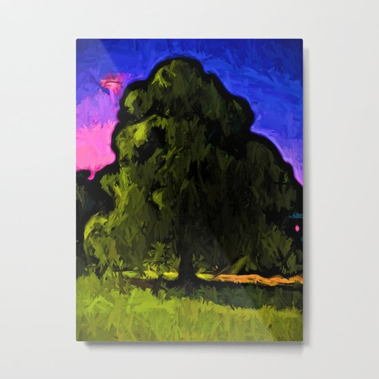 Green Tree with a Pink and Blue Sky Metal Print