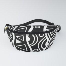 Four Waves - Freestyle Tribal Doodle Design - Black Fanny Pack