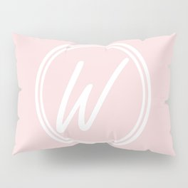 Monogram - Letter W on Pale Pink Background Pillow Sham