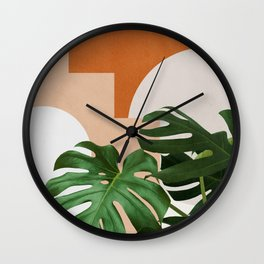 Abstract shapes art, Tropical leaves, Plant, Mid century modern art Wall Clock