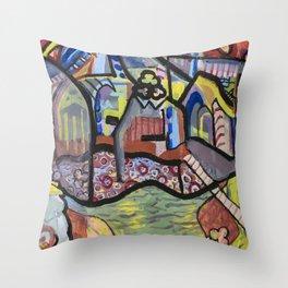 The Church at Auvers a la Mela Throw Pillow