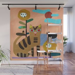 Cats on the Lawn Wall Mural