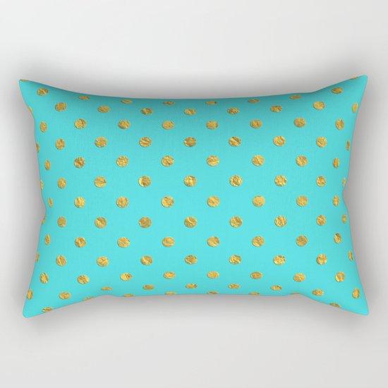 Gold glitter polka dots on turquoise backround pattern Rectangular Pillow