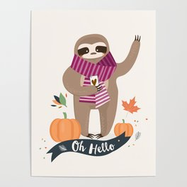 Comfy Sloth for the Fall & Pumpkin Poster