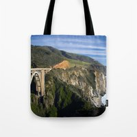 big sur Tote Bags featuring Big Sur by Brie Anne Demkiw