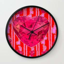 PINK JEWELED RED VALENTINE HEARTS  DESIGN Wall Clock