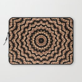 Kaleidoscope Beige Circular Pattern on Black Laptop Sleeve