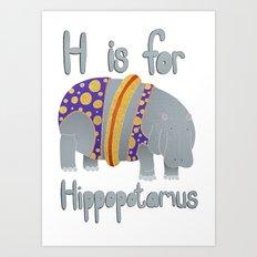 H is for Hippopotamus Art Print