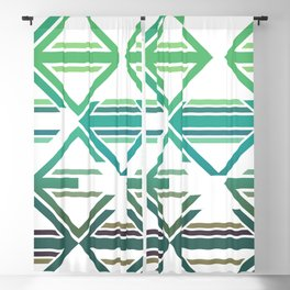 Geometric pattern green and blue triangles Blackout Curtain