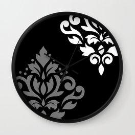 Scroll Damask Art I Black Grey White Wall Clock