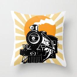 Retro Vintage Locomotive Train Steam Engine Throw Pillow