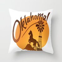 oklahoma Throw Pillows featuring Oklahoma by Jacinta Eve