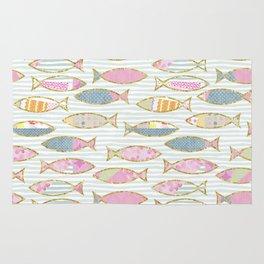 Fancy Fish pastel patchwork pattern Rug