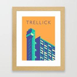 Trellick Tower London Brutalist Architecture - Text Apricot Framed Art Print