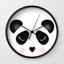 Little Panda Face Wall Clock