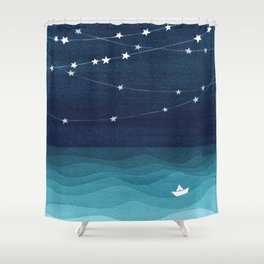 Garlands of stars, watercolor teal ocean Shower Curtain