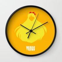 sailor venus Wall Clocks featuring Sailor Venus by Michi Donaho