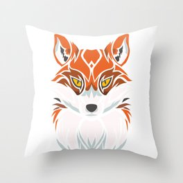 Tribal Fox - Wild Animal Art - Exotic Animals Throw Pillow