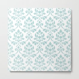 Feuille Damask Pattern Duck Egg Blue on White Metal Print