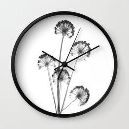 black and white flower wallpaper, flower decor, printable art Wall Clock