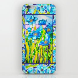 Blue Poppies 2 with Border iPhone Skin