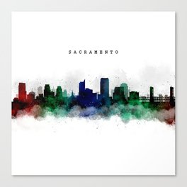 Sacramento Watercolor Skyline Canvas Print