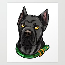 Cane Corso Dog Puppy Doggie Cartoon Present Art Print