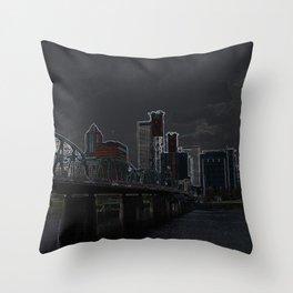 portland outline Throw Pillow
