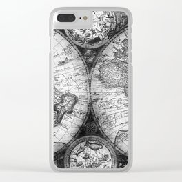 World Map Antique Vintage Black and White Clear iPhone Case