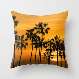 Palm Trees at Sunset by Cabrillo Beach Los Angeles California Throw Pillow
