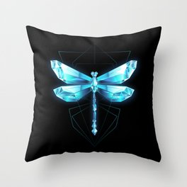 Ice Dragonfly Throw Pillow