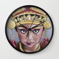 bali Wall Clocks featuring Bali Dancer by Marisa Jiménez